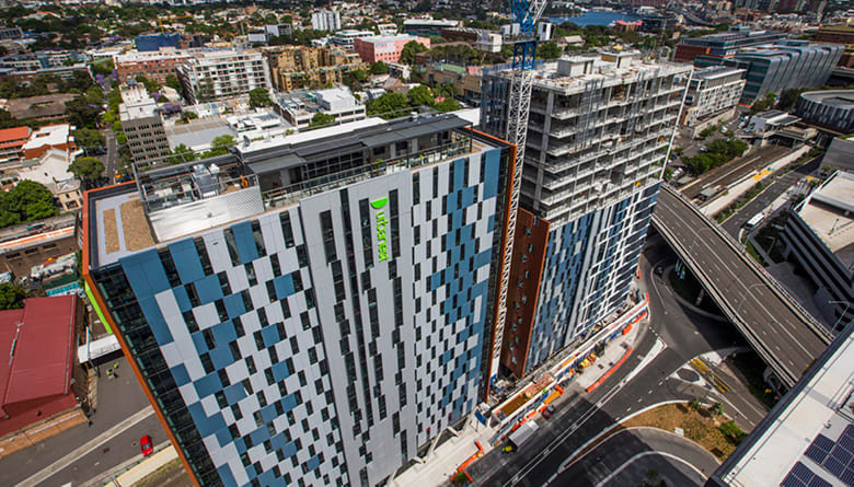 Aerial photo of the Urbanest buildings at Darling Square