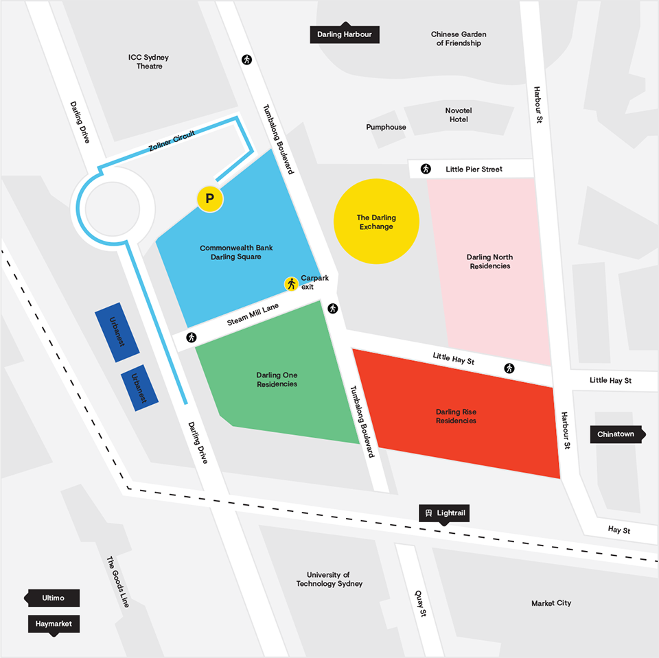 The Darling Square Masterplan Map With Driving Directions for Parking at Wilsons Parking
